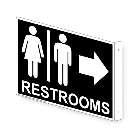 restrooms white  black sign rre proj whtonblk restrooms