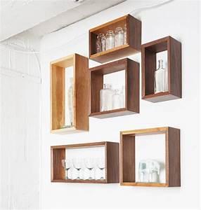 Simple Elegant Walnut & Cherry Wall Shelf Box Open Back