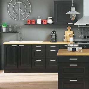 Meuble Cuisine Noir : cuisine noir et bois 10 photos pour r ussir votre d cor blog but ~ Teatrodelosmanantiales.com Idées de Décoration
