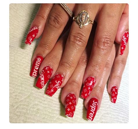 nails supreme supreme nails fa hion killuh in 2019 nails acrylic
