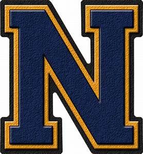 presentation alphabets navy blue gold varsity letter n With varsity letters
