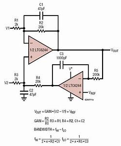 ltc6244 low noise ac difference amplifier circuit With dc bias circuit
