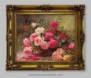 Cuadro cesta con rosas 63x52cm - Decorar con Arte