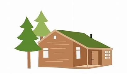 Cabin Log Cartoon Clipart Hut Animated Transparent
