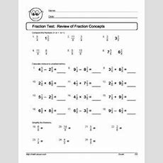 Fractions Test 4th Grade Pdf  Free Math Worksheets1000 Ideas About 4th Grade Worksheets On