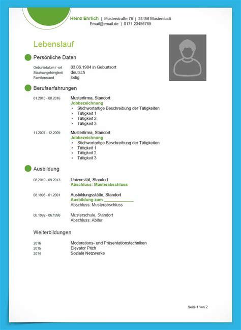 Lebenslauf Herunterladen by Kostenlose Lebenslauf Muster Und Vorlagen Zum