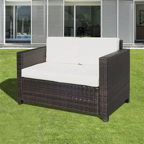 outsunny patio furniture outsunny rattan sofa chair 2 seater garden patio furniture