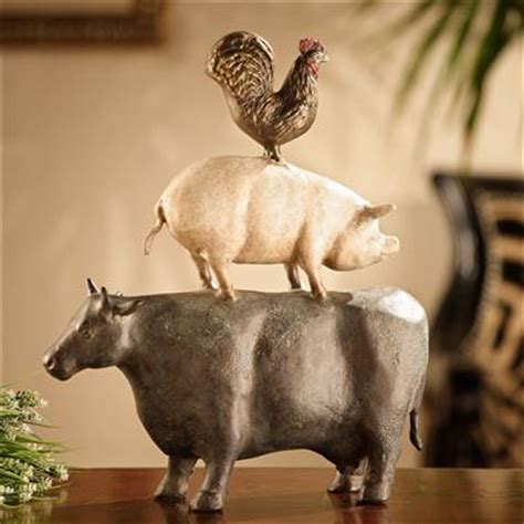 spi home american folk art trio chicken pig