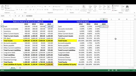 vertical analysis for balance sheet items using excel youtube