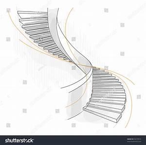 Sketch Spiral Staircase Vector Illustration Stock Vector ...