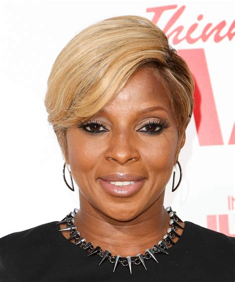 mary  blige short straight blonde hairstyle  light
