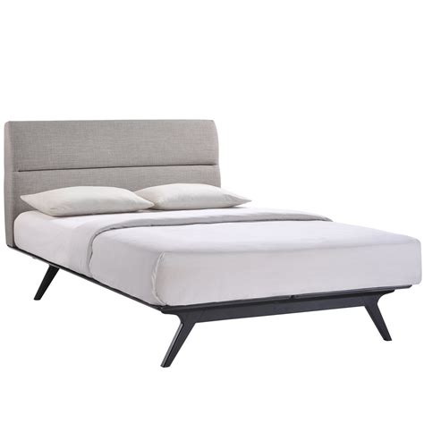 Mid Century Modern Full Size Bed Frame With Padded