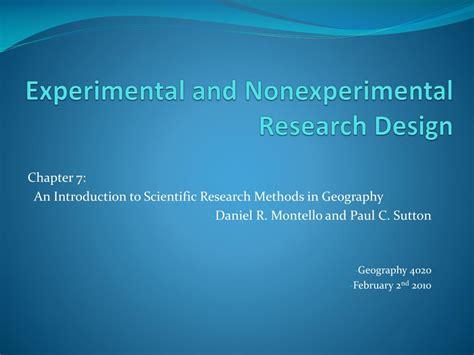 experimental  nonexperimental research design