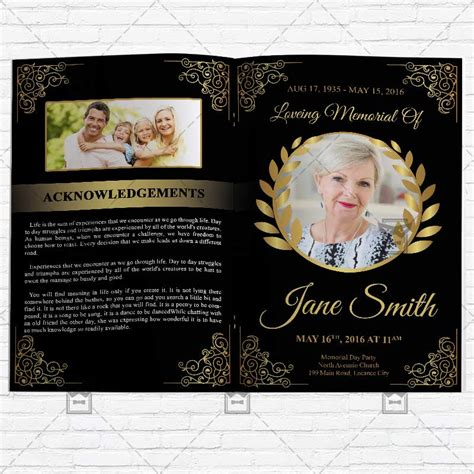 funeral program vol premium bi fold brochure template