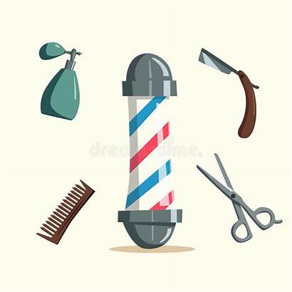 Barber Cartoon Tools Vector Illustration Scissors Hairstyle