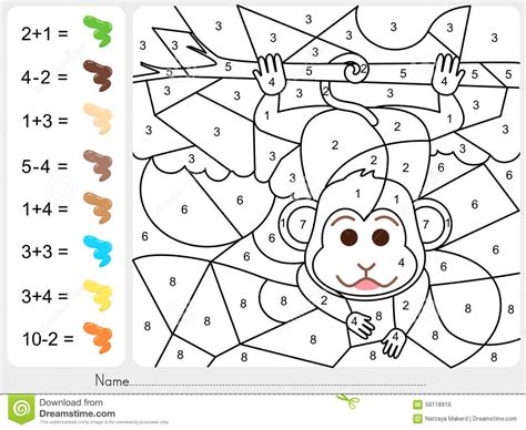 paint color by numbers worksheet for education stock