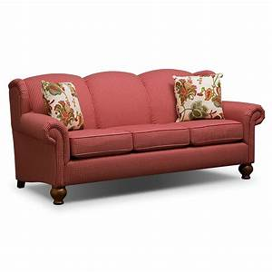Living room furniture charlotte sofa for Red sectional sofa value city