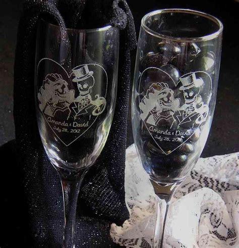 skeleton bride groom toasting wedding champagne glass