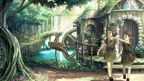 Anime House Wallpaper - elves town in the forest wallpaper anime wallpapers 40594