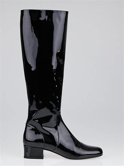 yves saint laurent black patent leather babies  knee high boots size  yoogis closet