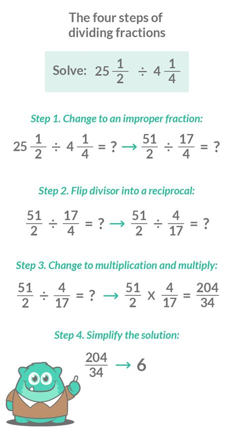 how to divide fractions in 3 easy steps with
