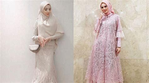 ide padu padan hijab  dress brokat ala  artis cantik okezone muslim