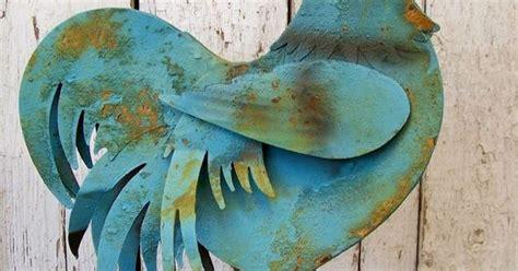 Tall Rustic Blue Painted Metal Rooster Vintage