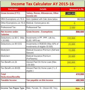 2016 Income Tax Charts Calculator