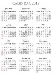 2017 Free Year Calendar