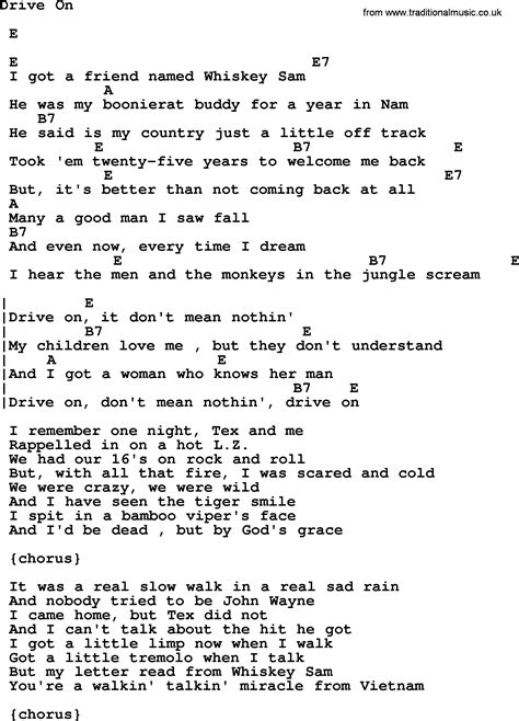 johnny cash song drive  lyrics  chords
