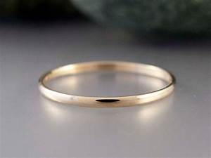 14k Gold Thin Wedding Band Solid Yellow Gold