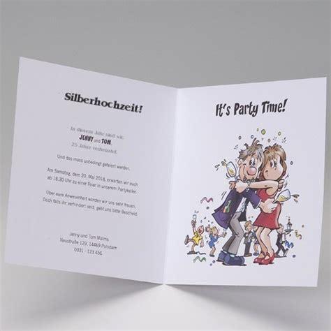lustige einladungskarte zur silberhochzeit im comic stil