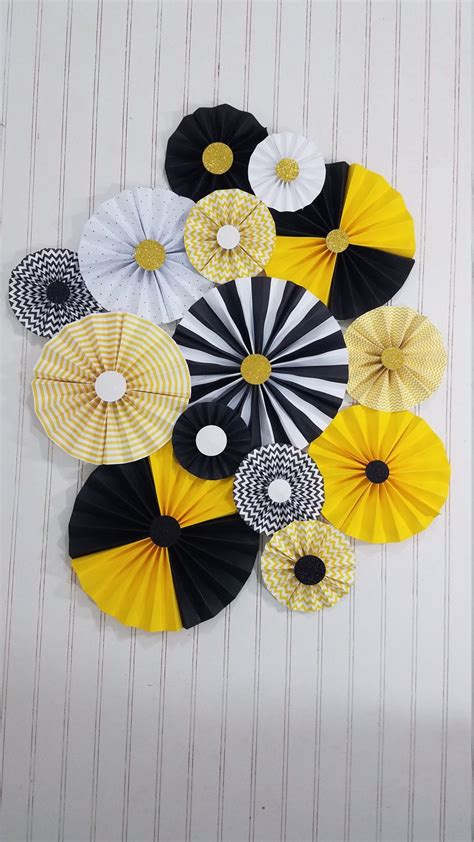 bumble bee black  yellow party pinwheel rosettes paper