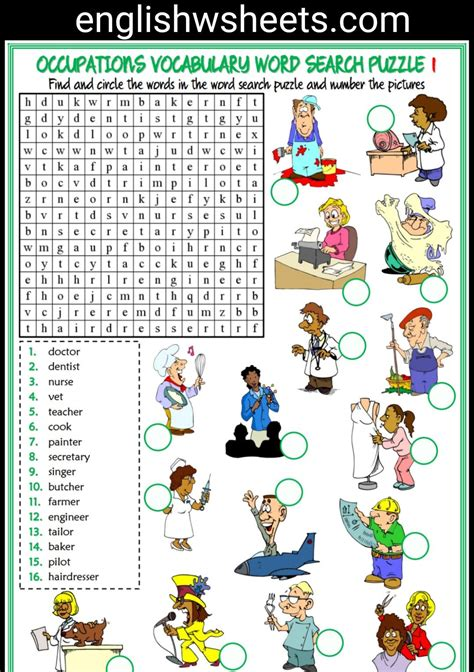 esl printable word search puzzle worksheets for