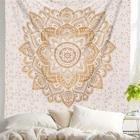 gold geometric flower ombre mandala wall tapestry