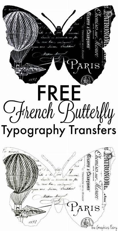 French Butterfly Transfers Typography Fairy Graphics Printable