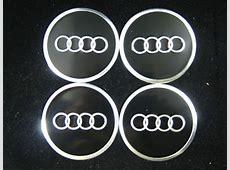 Audi Black & Chrome Wheel Center Cap Stickers, Chrome