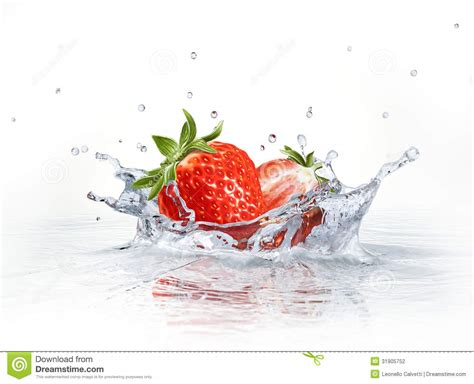 strawberries falling  clear water forming  crown