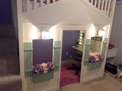 cottage loft bed white cottage loft bed playhouse with stairs lights