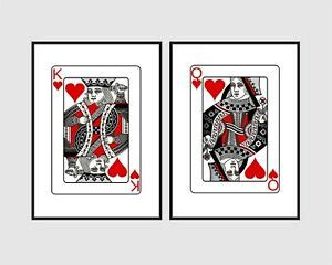 Queen of hearts playing card wall art print a made to order home decor print ready to add a little. Playing Cards His Hers King Queen of Hearts Wall Art Print ...