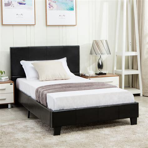 Full Size Faux Leather Platform Bed Frame Slats
