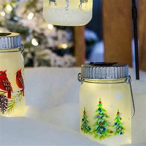 Solar, Lantern, Home, Decorative, Hanging, Glass, Mason, Jar, Lanterns, Green, Tree, 808412671609