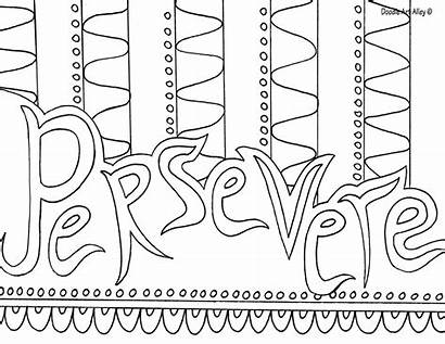Coloring Pages Encouragement Testing Doodle Word Persevere