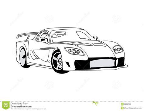 Car Line Art Stock Vector. Illustration Of Transport