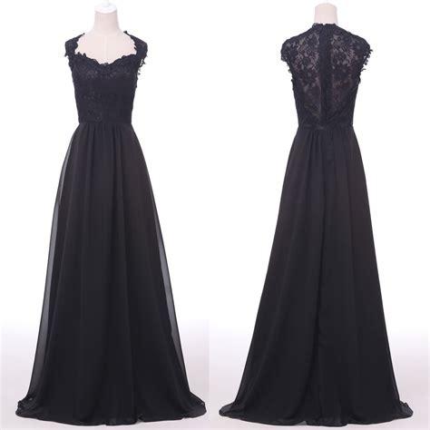 Vintage Black Lace Evening Party Dress Semi Formal Long
