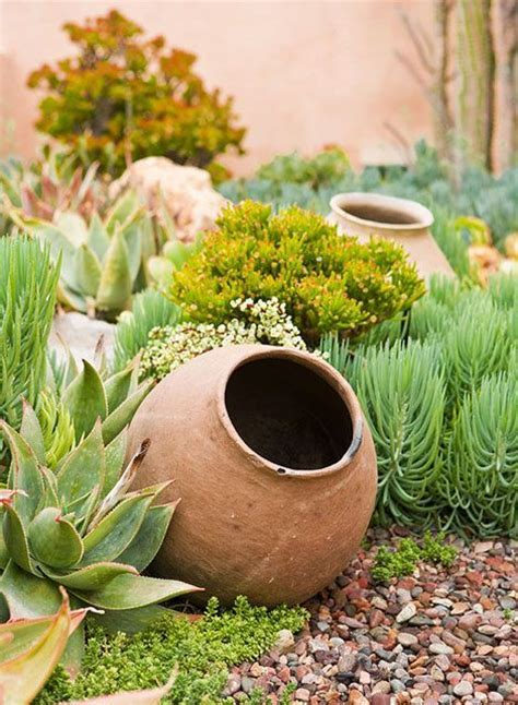 large urn in the garden succulents and water wise