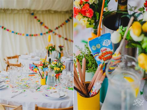 colourful wedding reception decorations at cheerful chill