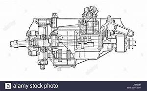 Side View Diagram Of Siddeley Car Gearbox Stock Photo