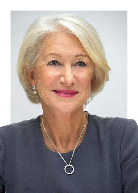Bob One Side Part White Straight Human Hair Old Women Wig
