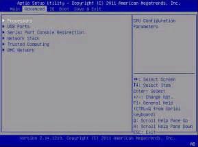 BIOS Advanced Menu Selections - Sun Blade X3-2B Product ...